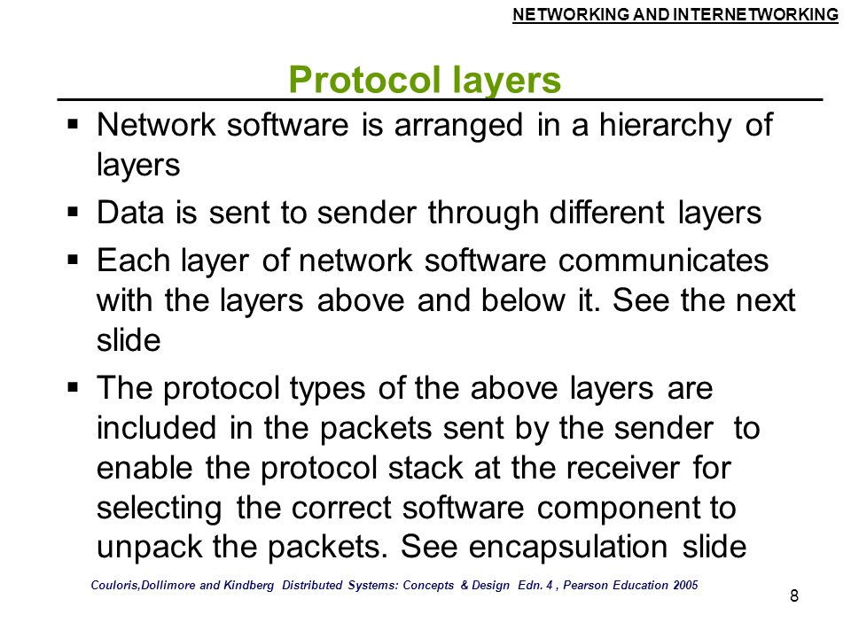 NETWORKING AND INTERNETWORKING 8 Protocol layers  Network software is arranged in a hierarchy of layers  Data is sent to sender through different layers  Each layer of network software communicates with the layers above and below it.