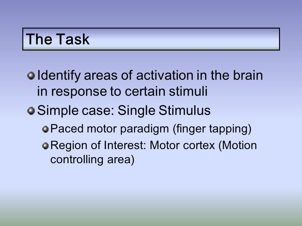 The Task Identify areas of activation in the brain in response to certain stimuli Simple case: Single Stimulus Paced motor paradigm (finger tapping) Region of Interest: Motor cortex (Motion controlling area) Challenges: Noise & Data Volume