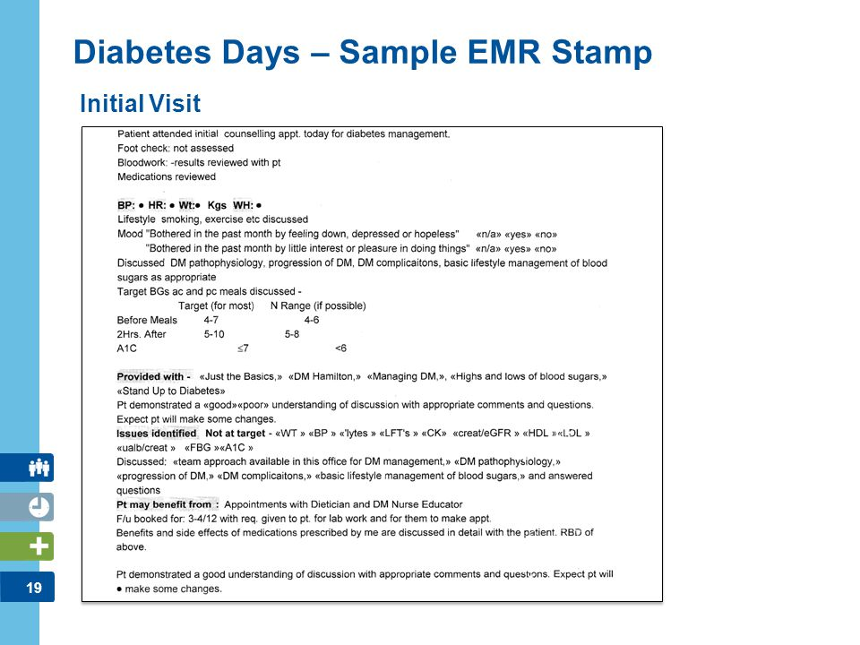 19 Diabetes Days – Sample EMR Stamp Initial Visit