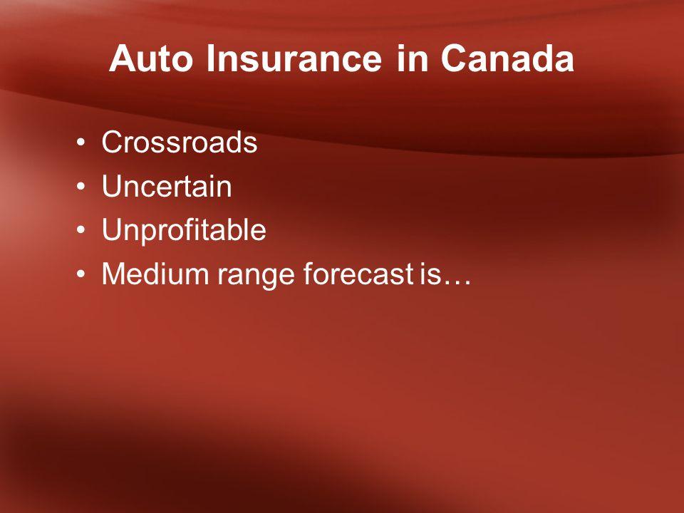 Auto Insurance in Canada Crossroads Uncertain Unprofitable Medium range forecast is…