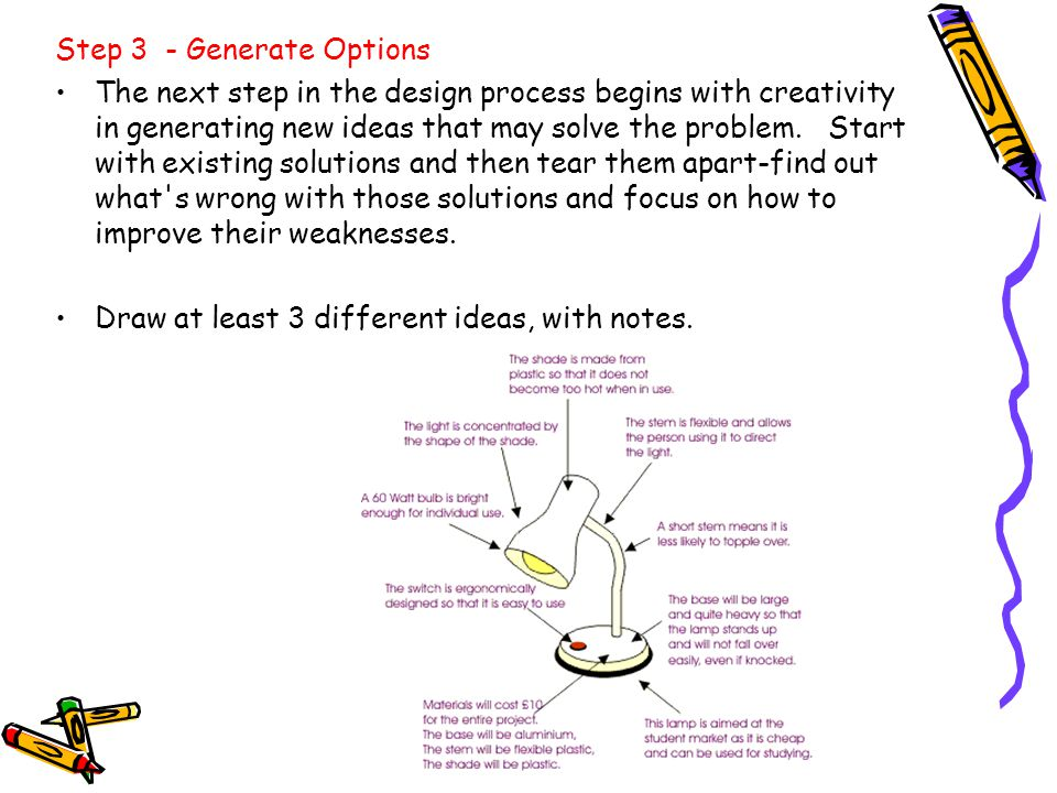 Step 3 - Generate Options The next step in the design process begins with creativity in generating new ideas that may solve the problem. Start with ex
