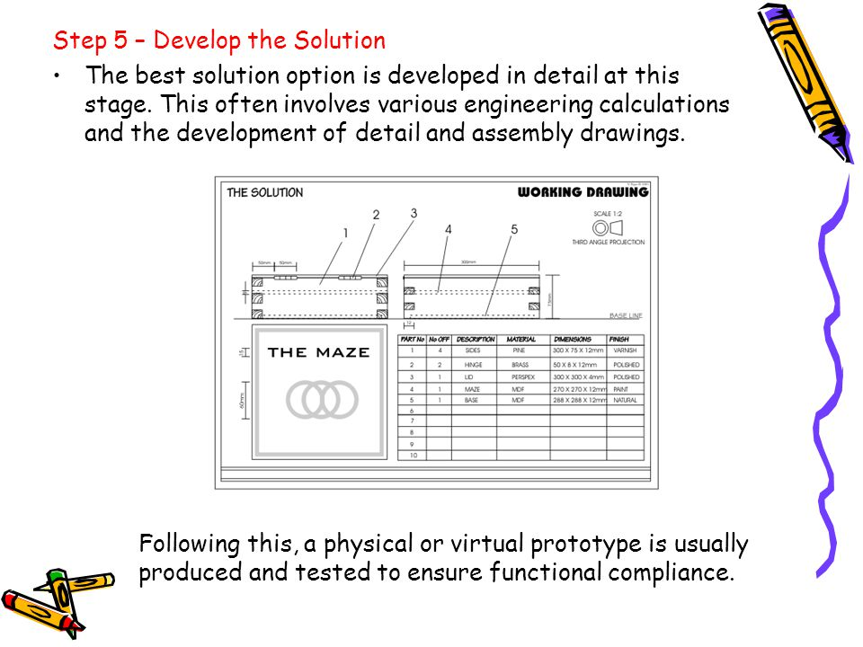 Step 5 – Develop the Solution The best solution option is developed in detail at this stage. This often involves various engineering calculations and