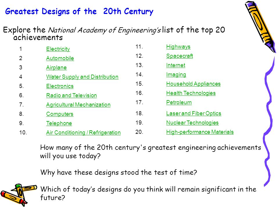 Greatest Designs of the 20th Century Explore the National Academy of Engineering's list of the top 20 achievements 1 Electricity 2Automobile 3Airplane