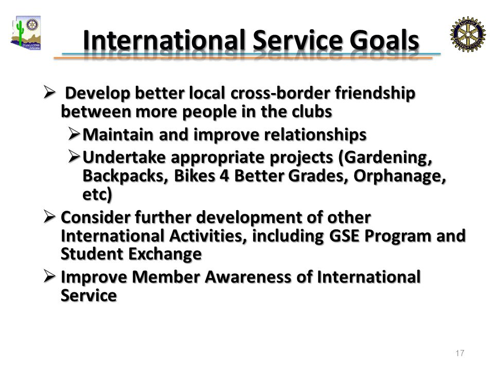  Develop better local cross-border friendship between more people in the clubs  Maintain and improve relationships  Undertake appropriate projects (Gardening, Backpacks, Bikes 4 Better Grades, Orphanage, etc)  Consider further development of other International Activities, including GSE Program and Student Exchange  Improve Member Awareness of International Service 17