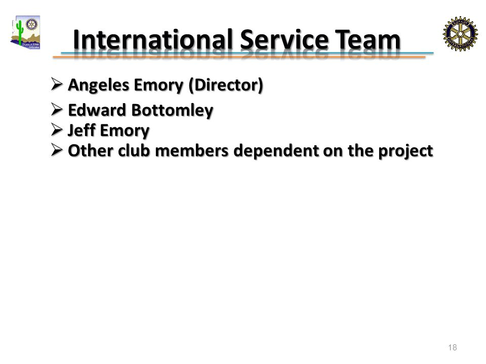  Angeles Emory (Director)  Edward Bottomley  Jeff Emory  Other club members dependent on the project 18
