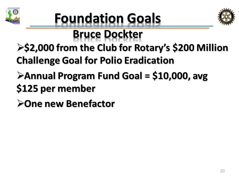  $2,000 from the Club for Rotary's $200 Million Challenge Goal for Polio Eradication  Annual Program Fund Goal = $10,000, avg $125 per member  One new Benefactor 20