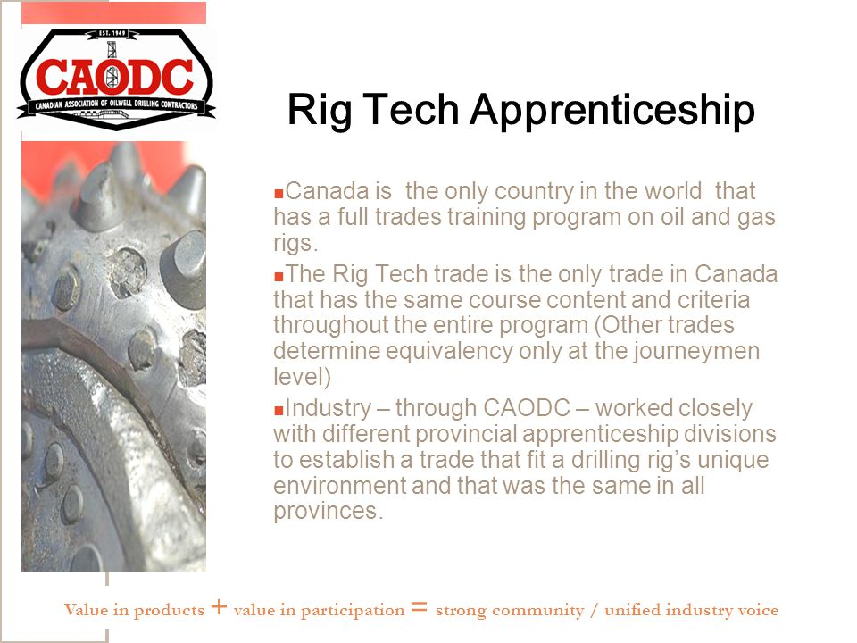 Rig Tech Apprenticeship Canada is the only country in the world that has a full trades training program on oil and gas rigs.
