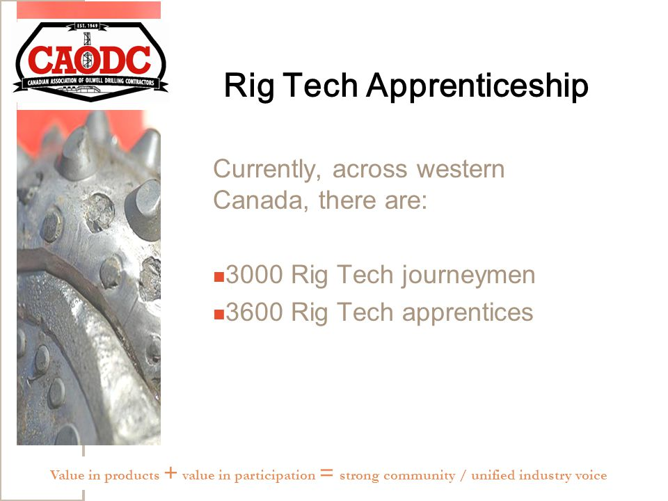 Rig Tech Apprenticeship Currently, across western Canada, there are: 3000 Rig Tech journeymen 3600 Rig Tech apprentices Value in products + value in participation = strong community / unified industry voice
