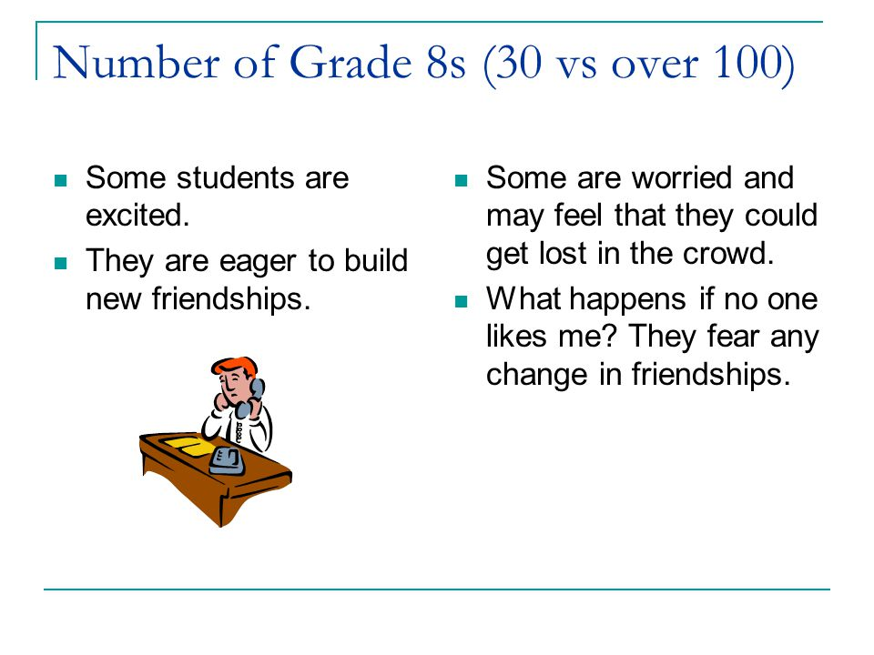 Number of Grade 8s (30 vs over 100) Some students are excited.