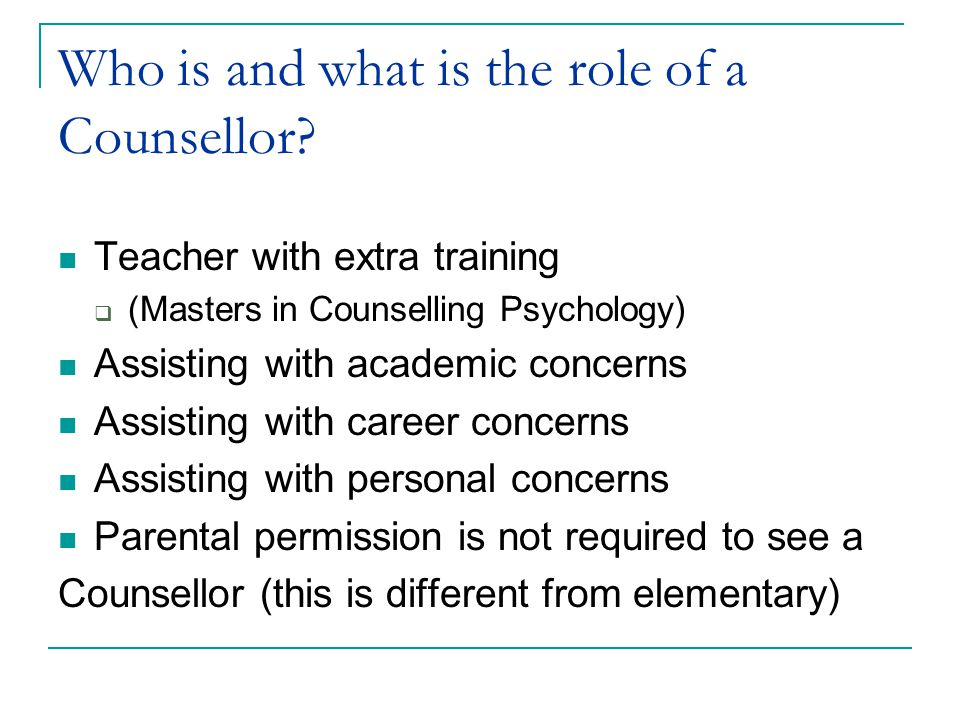 Who is and what is the role of a Counsellor.