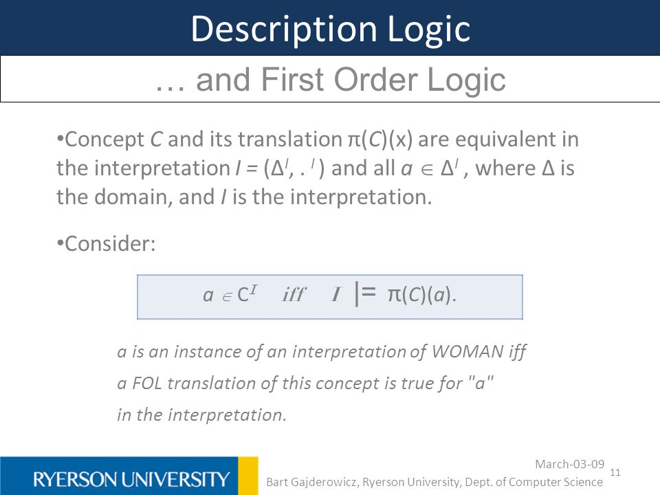11 Description Logic … and First Order Logic Concept C and its translation π(C)(x) are equivalent in the interpretation I = (Δ I,. I ) and all a  Δ I