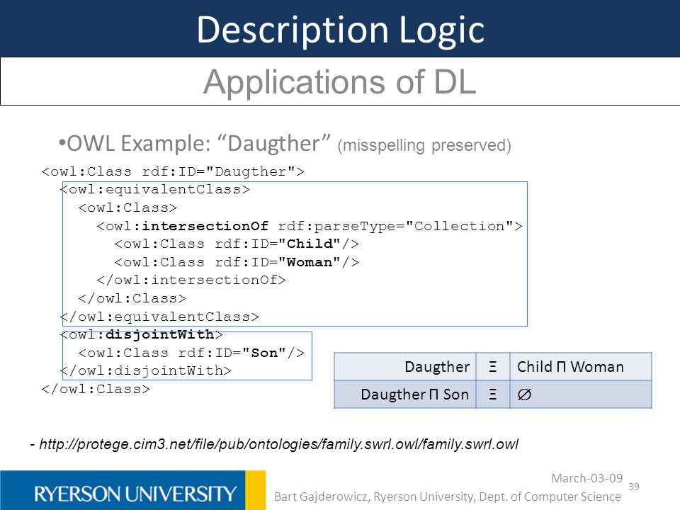 "39 Description Logic Applications of DL OWL Example: ""Daugther"" (misspelling preserved) - http://protege.cim3.net/file/pub/ontologies/family.swrl.owl/"