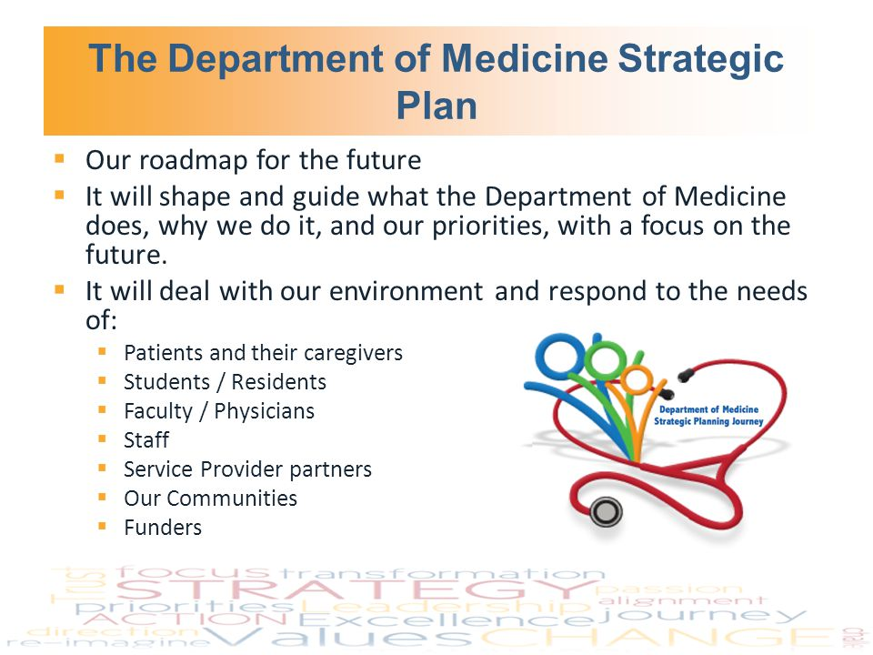 The Department of Medicine Strategic Plan  Our roadmap for the future  It will shape and guide what the Department of Medicine does, why we do it, and our priorities, with a focus on the future.