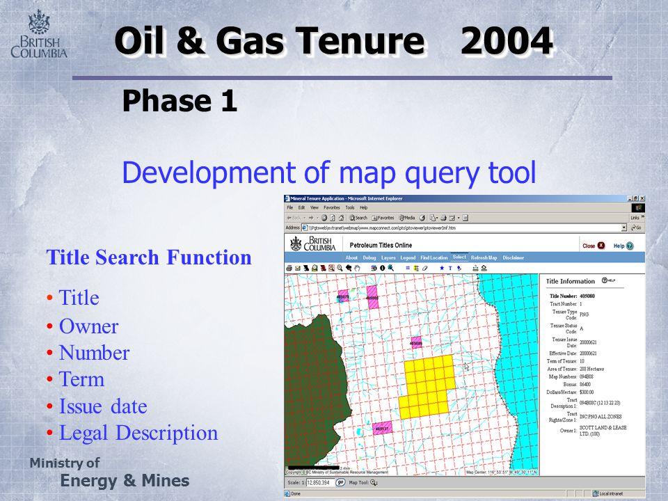 Ministry of Energy & Mines Page 27. Oil & Gas Tenure 2004 Phase 1 Development of map query tool Petroleum Titles NE BC Title Search Function Title Own