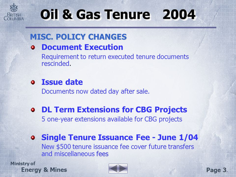 Ministry of Energy & Mines Page 24. PETROLEUM TITLES ONLINE
