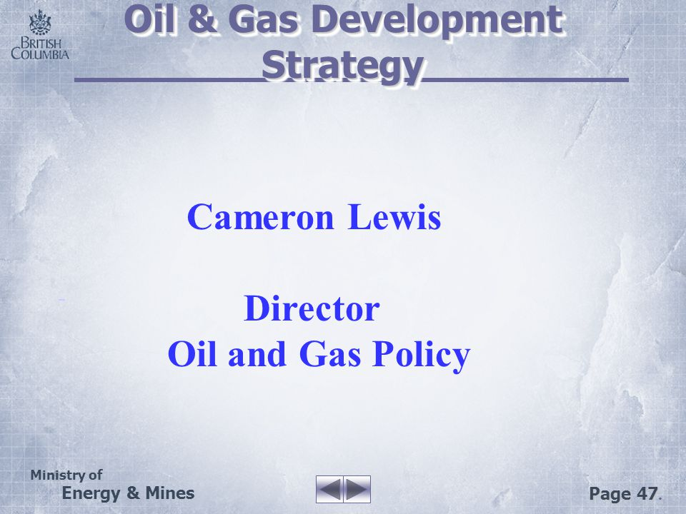 Ministry of Energy & Mines Page 47. Oil & Gas Development Strategy Cameron Lewis Director Oil and Gas Policy