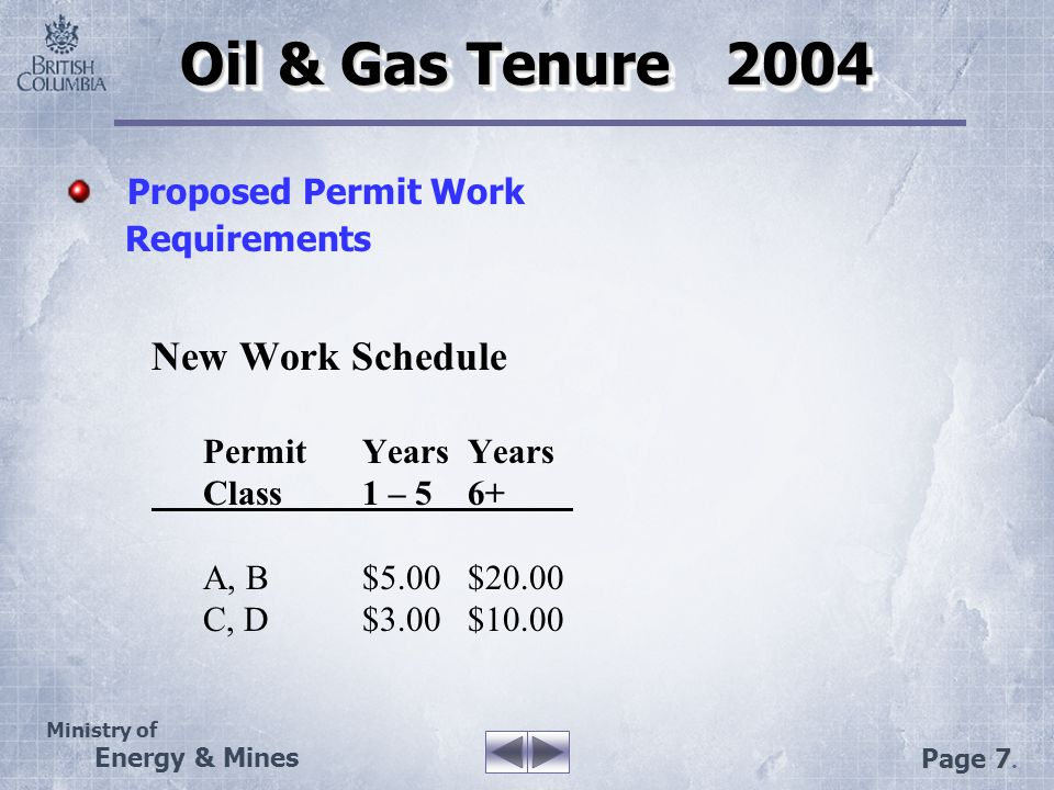 Ministry of Energy & Mines Page 7. Oil & Gas Tenure 2004 New Work Schedule PermitYearsYears Class1 – 56+ A, B$5.00$20.00 C, D$3.00$10.00 Proposed Perm