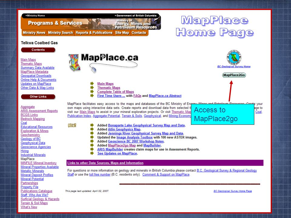 Access to MapPlace2go