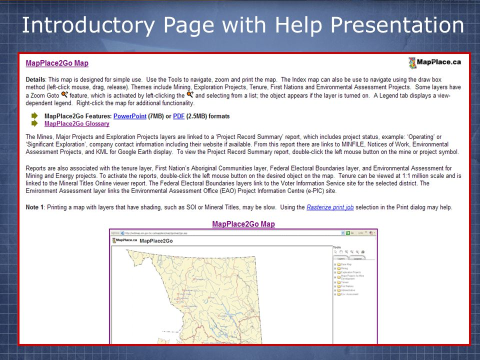 Introductory Page with Help Presentation