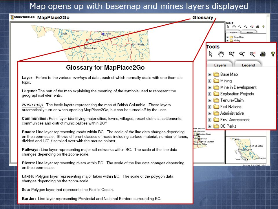 Map opens up with basemap and mines layers displayed