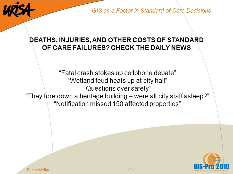 25 GIS as a Factor in Standard of Care Decisions DEATHS, INJURIES, AND OTHER COSTS OF STANDARD OF CARE FAILURES.