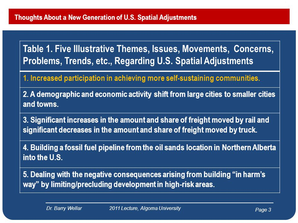 Page 3 Thoughts About a New Generation of U.S. Spatial Adjustments Dr. Barry Wellar 2011 Lecture, Algoma University Table 1. Five Illustrative Themes,