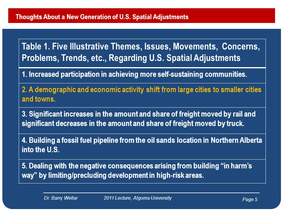 Page 5 Thoughts About a New Generation of U.S. Spatial Adjustments Dr. Barry Wellar 2011 Lecture, Algoma University Table 1. Five Illustrative Themes,