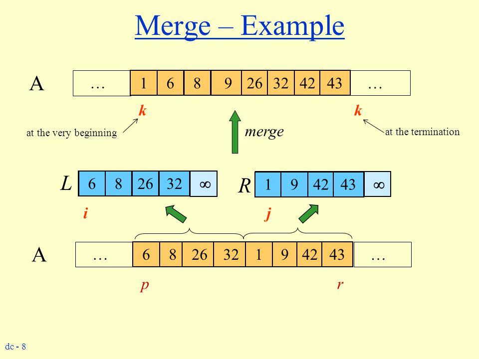 dc - 8 j Merge – Example 6 82632 1 94243 … … A k 6 82632 1 94243 k k k k k k k k i   j 6 82632 1 94243 1 6 8 926324243 L R 6 82632 1 94243 … … A 6 8
