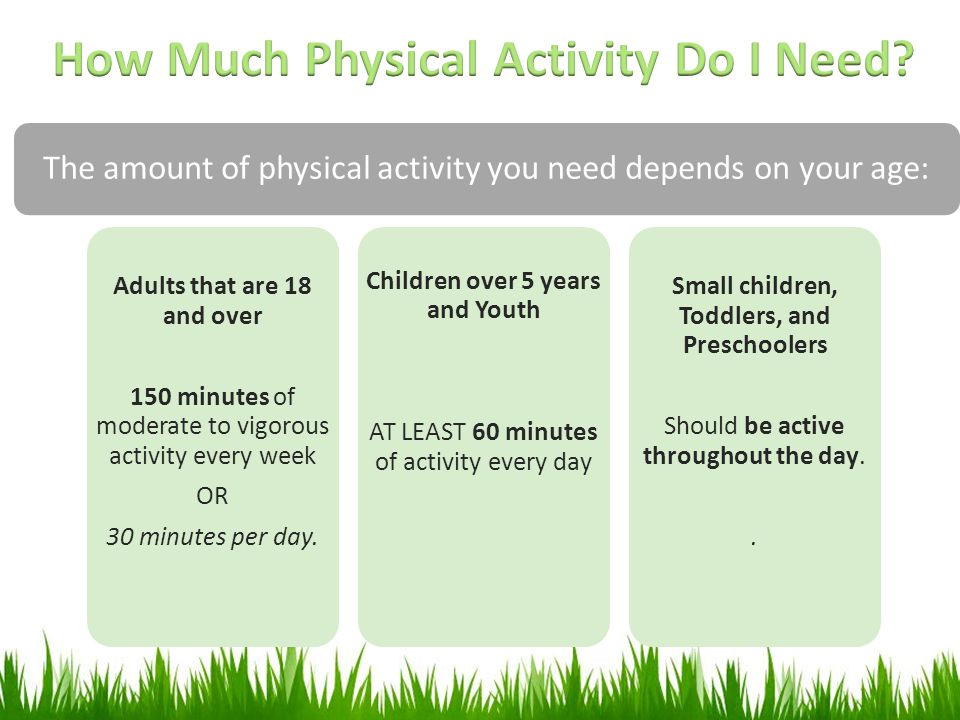 The amount of physical activity you need depends on your age: Adults that are 18 and over 150 minutes of moderate to vigorous activity every week OR 3