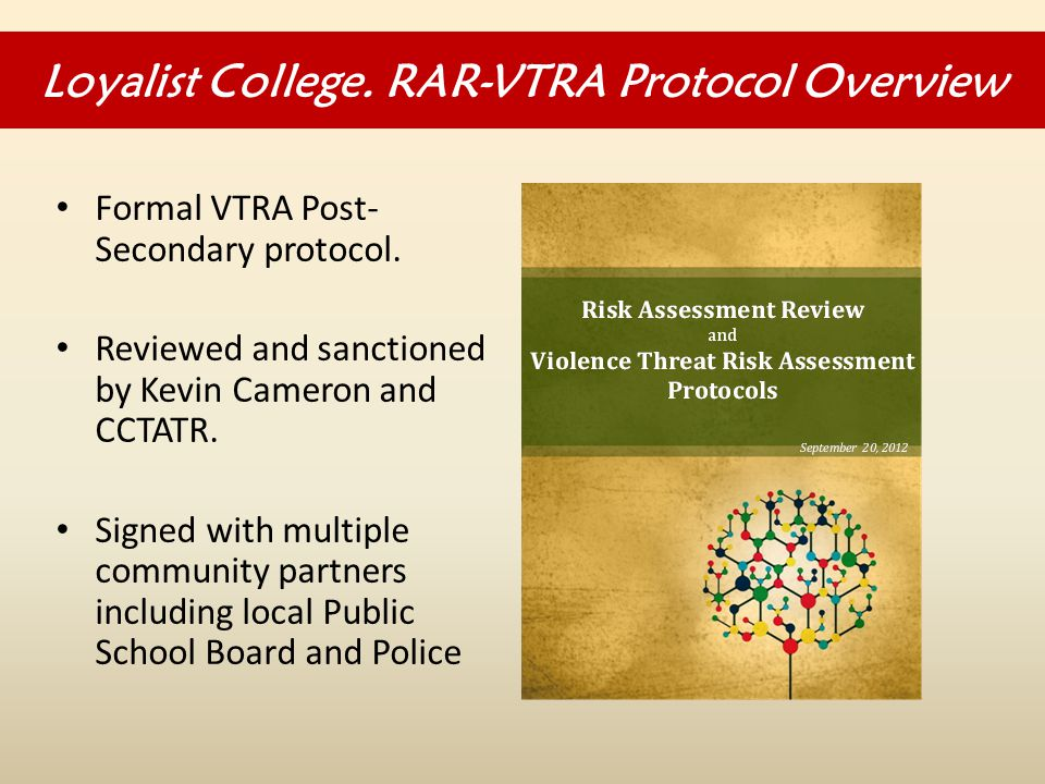 Formal VTRA Post- Secondary protocol. Reviewed and sanctioned by Kevin Cameron and CCTATR.