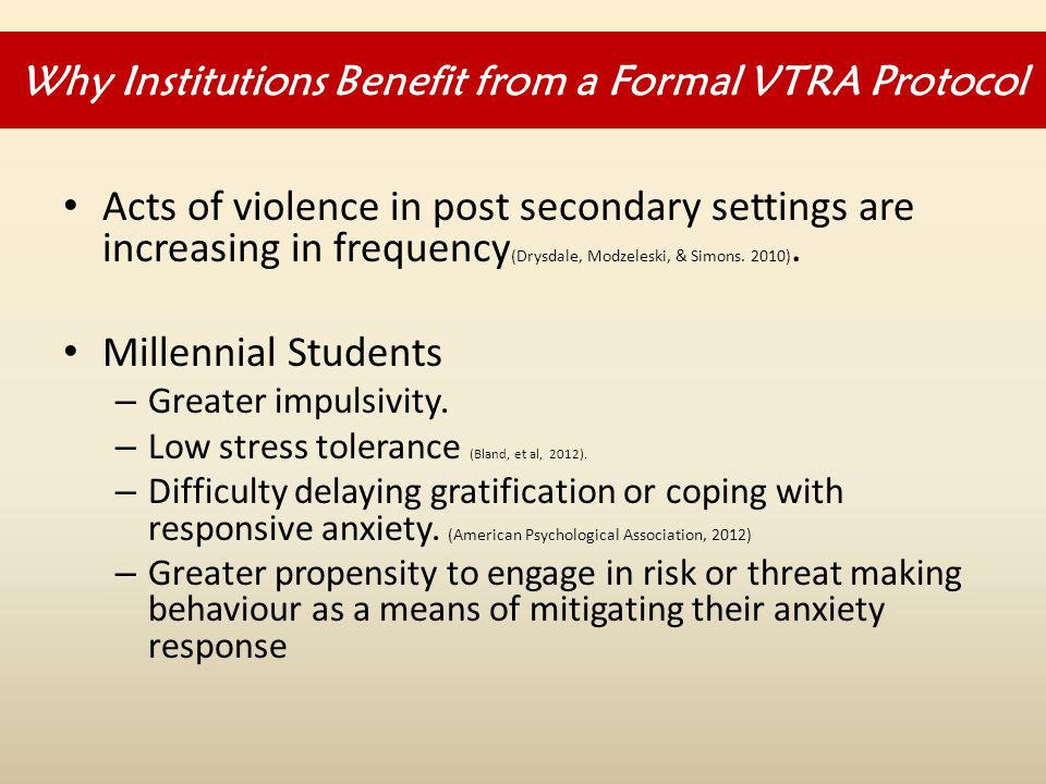 Acts of violence in post secondary settings are increasing in frequency (Drysdale, Modzeleski, & Simons.