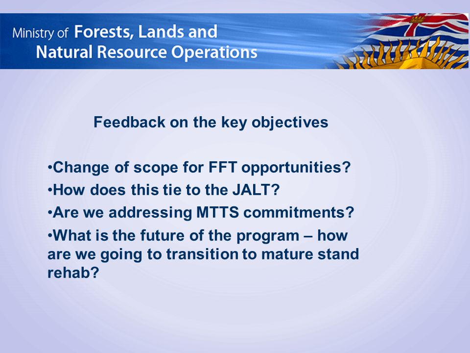 Feedback on the key objectives Change of scope for FFT opportunities? How does this tie to the JALT? Are we addressing MTTS commitments? What is the f