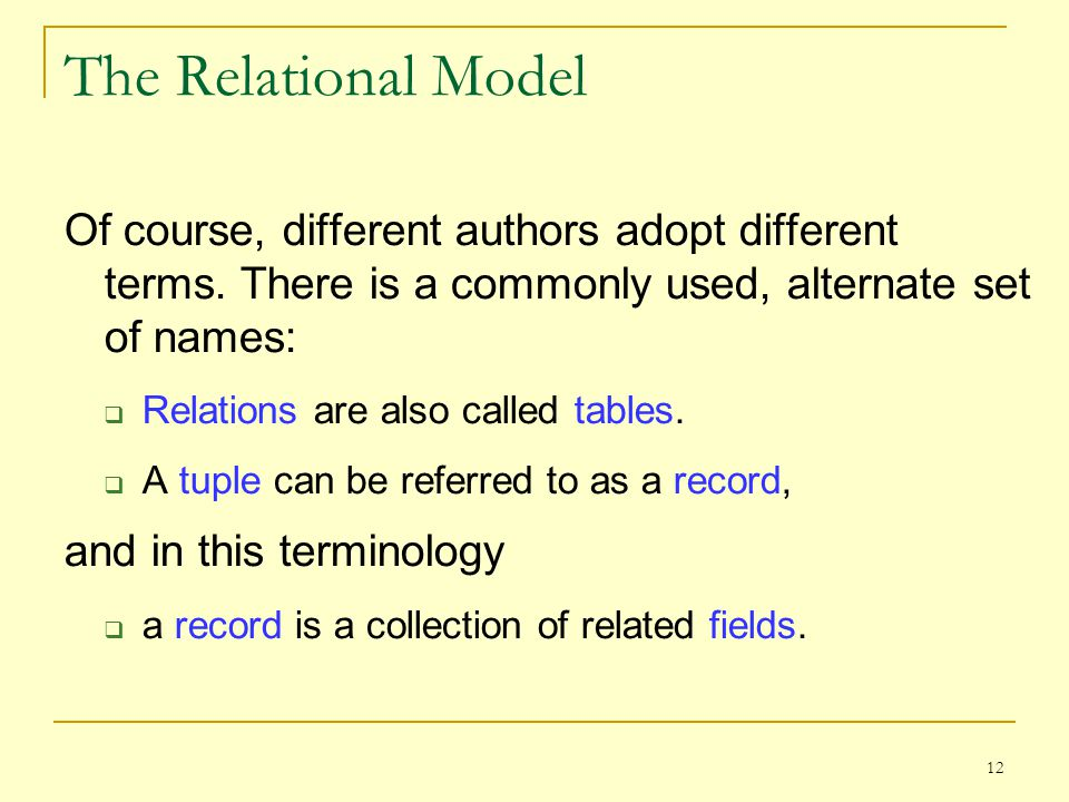 12 The Relational Model Of course, different authors adopt different terms.