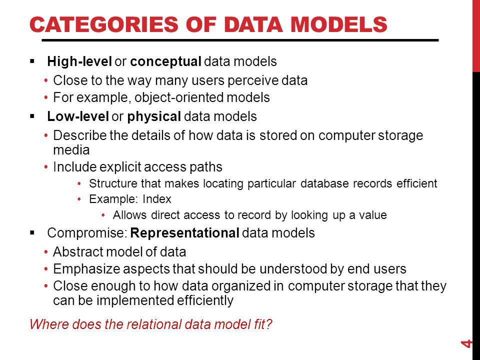 THREE-SCHEMA ARCHITECTURE  Internal level Describes physical storage structure of the database  Conceptual level Describes structure of the whole database for the complete community of users  External or view level Describes part of the database of interest to a particular user group 5