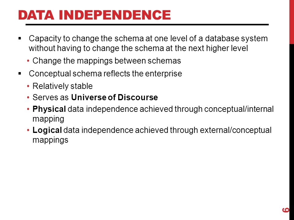 DATA INDEPENDENCE  Capacity to change the schema at one level of a database system without having to change the schema at the next higher level Chang