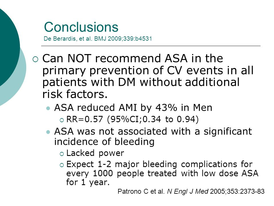 Conclusions De Berardis, et al. BMJ 2009;339:b4531  Can NOT recommend ASA in the primary prevention of CV events in all patients with DM without addi