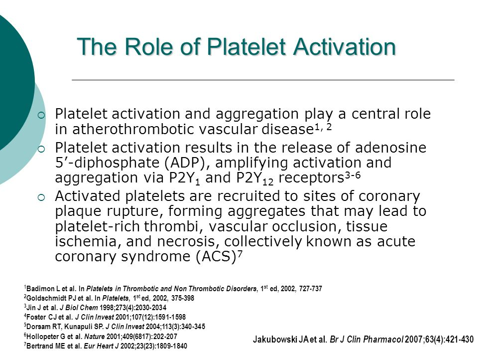 Jakubowski JA et al. Br J Clin Pharmacol 2007;63(4):421-430 The Role of Platelet Activation  Platelet activation and aggregation play a central role