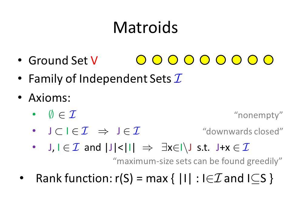 Matroids Ground Set V Family of Independent Sets I Axioms: ; 2 I nonempty J ½ I 2 I ) J 2 I downwards closed J, I 2 I and |J|<|I| ) 9 x 2 I n J s.t.