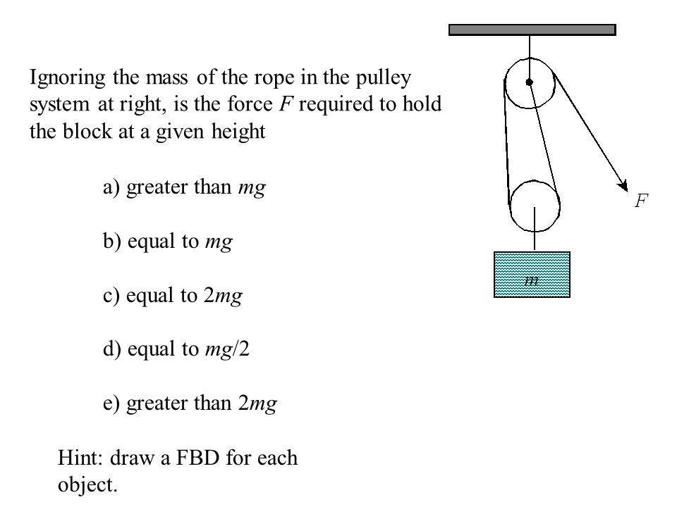 Ignoring the mass of the rope in the pulley system at right, is the force F required to hold the block at a given height a) greater than mg b) equal t