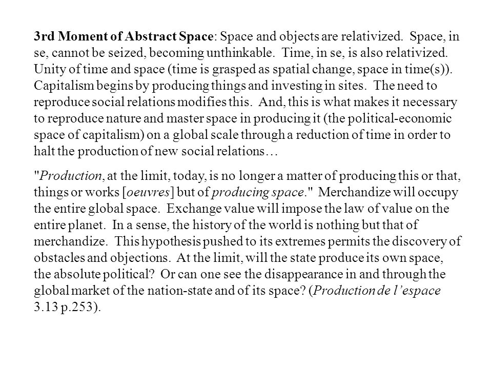 3rd Moment of Abstract Space: Space and objects are relativized. Space, in se, cannot be seized, becoming unthinkable. Time, in se, is also relativize