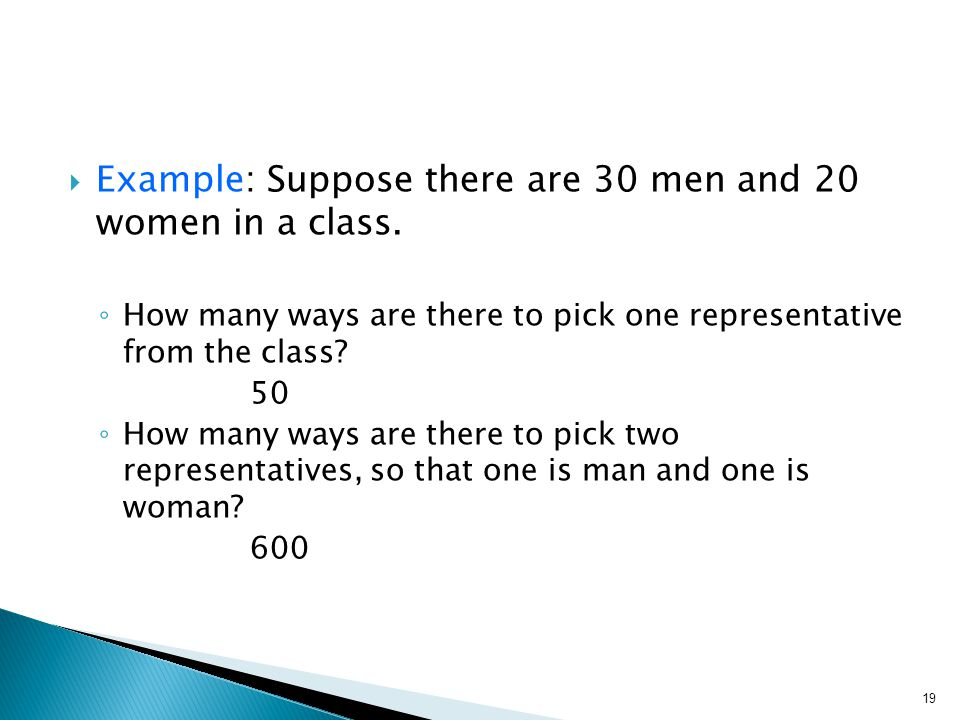  Example: Suppose there are 30 men and 20 women in a class.