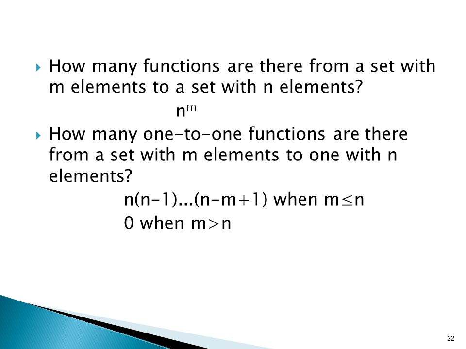 How many functions are there from a set with m elements to a set with n elements.