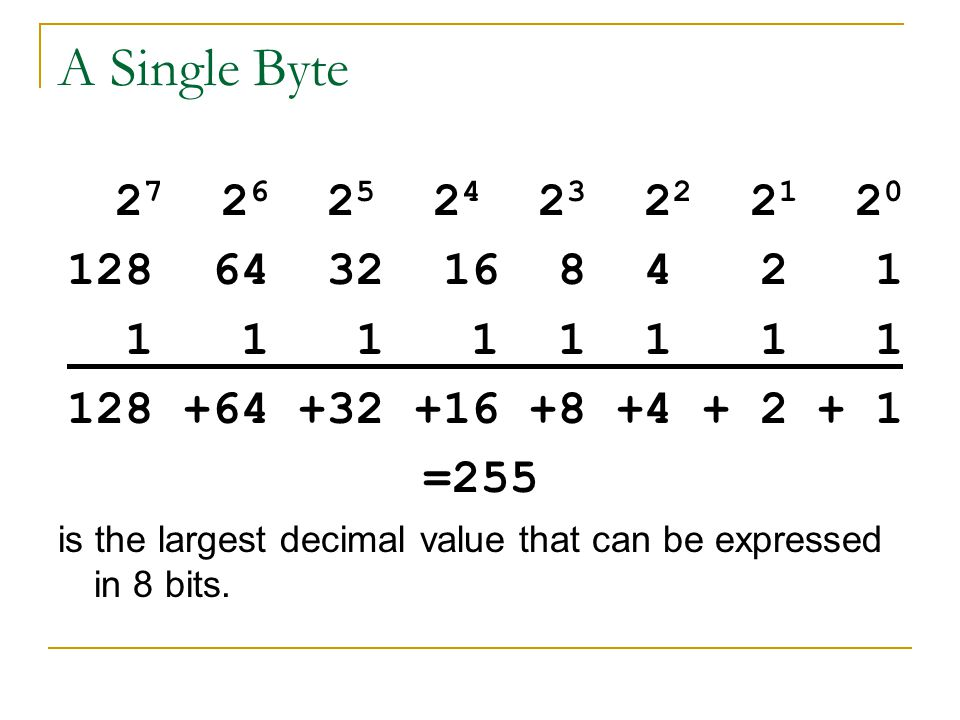 A Single Byte 2 7 2 6 2 5 2 4 2 3 2 2 2 1 2 0 128 64 32 16 8 4 2 1 1 1 1 1 1 1 1 1 128 +64 +32 +16 +8 +4 + 2 + 1 =255 is the largest decimal value tha