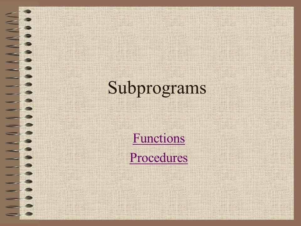 Subprograms Functions Procedures