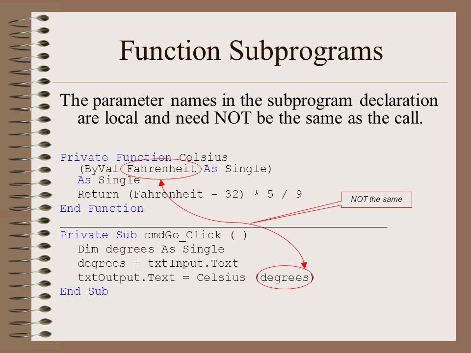 Function Subprograms The parameter names in the subprogram declaration are local and need NOT be the same as the call.