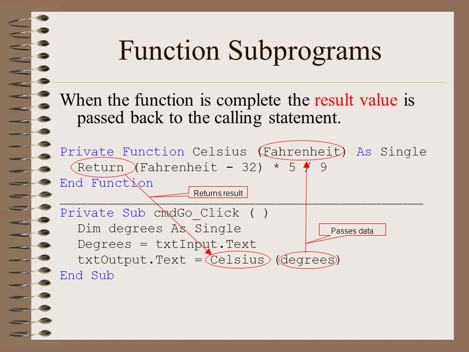 Function Subprograms When the function is complete the result value is passed back to the calling statement.