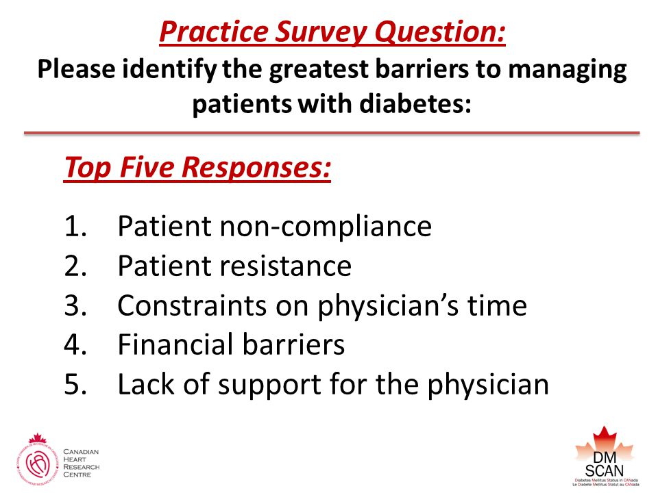 Practice Survey Question: Please identify the greatest barriers to managing patients with diabetes: Top Five Responses: 1.Patient non-compliance 2.Patient resistance 3.Constraints on physician's time 4.Financial barriers 5.Lack of support for the physician