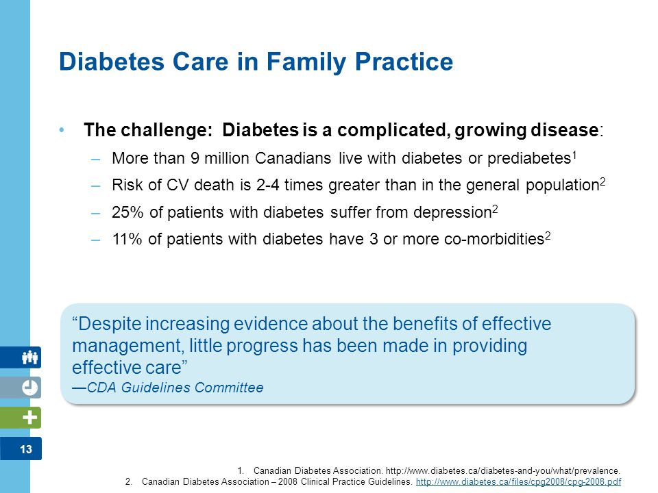 13 Diabetes Care in Family Practice The challenge: Diabetes is a complicated, growing disease: –More than 9 million Canadians live with diabetes or pr
