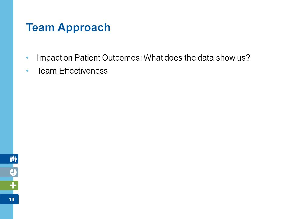 19 Team Approach Impact on Patient Outcomes: What does the data show us? Team Effectiveness