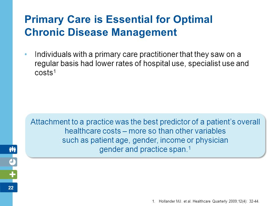 22 Primary Care is Essential for Optimal Chronic Disease Management Individuals with a primary care practitioner that they saw on a regular basis had